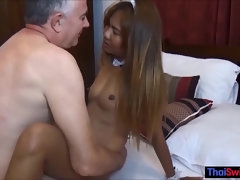 Hot amateur Thai maid having nasty fun after her shift