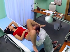 Raunchy doctor gives brunette cutie great sex treatment