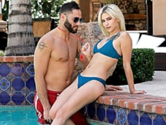 Passionate miniature blonde Kiara Cole gets fucked in the doggy style