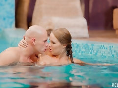 Sensual Hungarian babe gets cum covered by the pool in erotic sex session