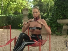 Blonde Dominatrix in Latex Leather & High Heels - outdoor striptease