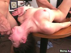 Geeky girl Kymberlee Anne gets stripped and forced to gag on hard dick