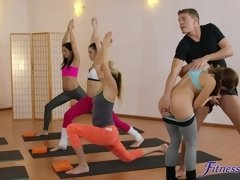 Fitness instructor has a three-way with two hot girls.