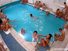 Sweet sex pool party with passionate long-legged young babes