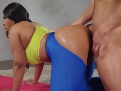 New age yoga teacher Aryana Adin showing that she can still focus on her yoga while being fucked by her assistant