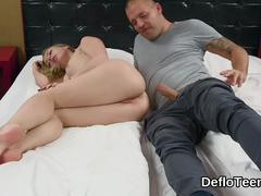 Virgin blonde pussy banged hard from behind
