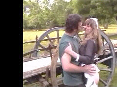 French maid in pantyhose pummels on a farm with hefty cumshot
